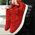 Marca Ocasionales de Los Hombres Zapatos de Deporte de Cuero de Gamuza Plana Zapatos Para Caminar Hombres Entrenadores Cesta Superstar Zapatillas Hombre Ocio Rojo Azul
