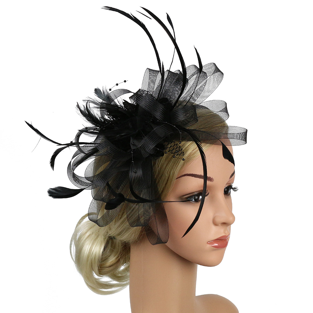 Wedding Fedoras Feather Mesh Hair Accessory Party Hat Fascinator Headband Women Gift Derby Day Church Banquet Bridal Bowknot