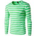 Мода мужская футболка Slim fit О-Образным Вырезом Зеленый Полосатый Плюс размер Топы и Тис одежда