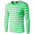 T-shirt Dos Homens da forma Slim fit O Pescoço Listrado Verde Plus Size Tops & T roupas