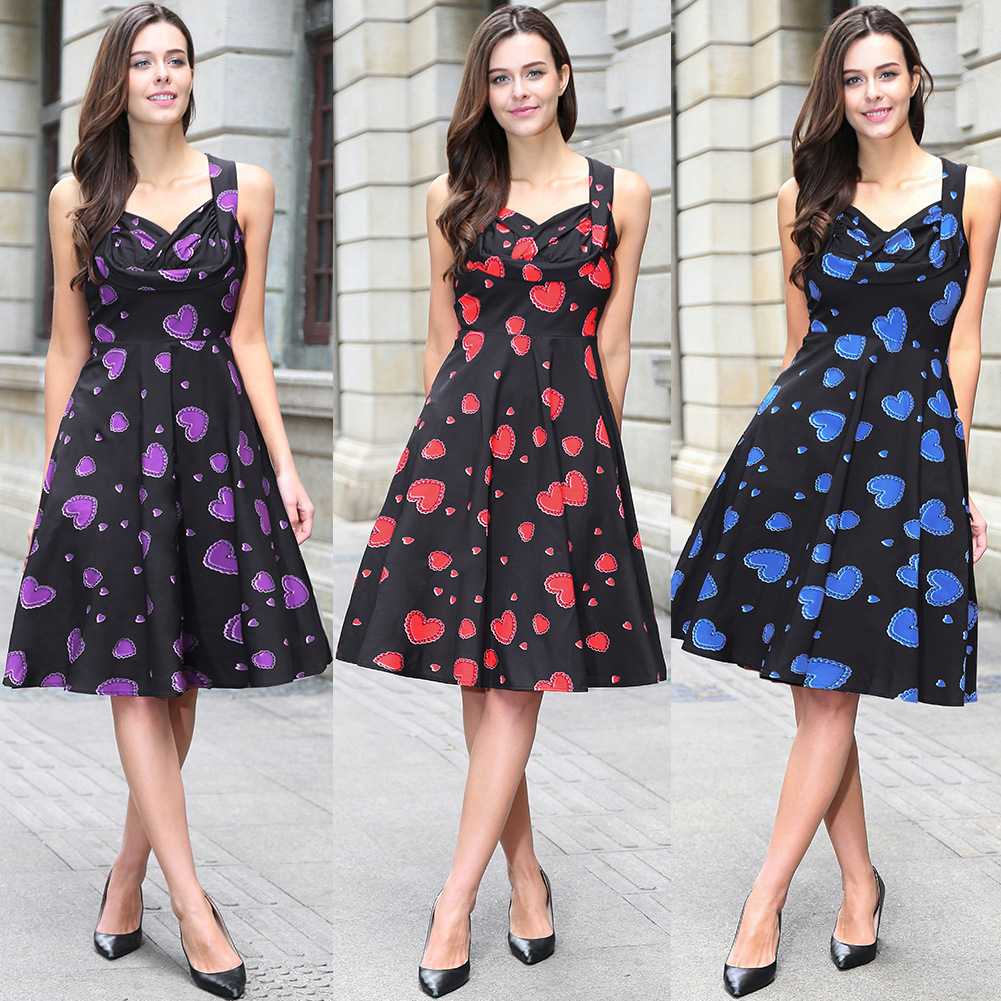 Plus Size Vestidos Mujer Goods In Stock Restore Ancient Ways Hertz Basis Wind 50s Will Pendulum Dress Two Hearts Chest Woman