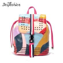 2017 Простые Модные Натуральная кожа женский рюкзак Mochila Feminina роскошных рюкзаки женские сумки Дизайнер Лоскутная сумка дамы
