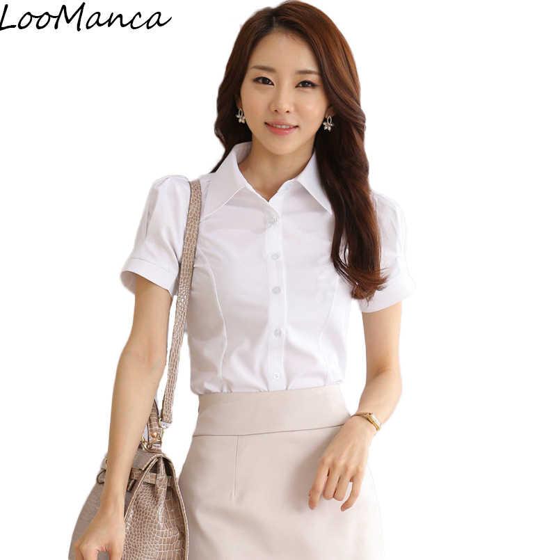 35f26cc9d9f Плюс Размеры 4XL 5XL Модная рубашка с короткими рукавами женские деловые  элегантная белая блузка тонкий шифон