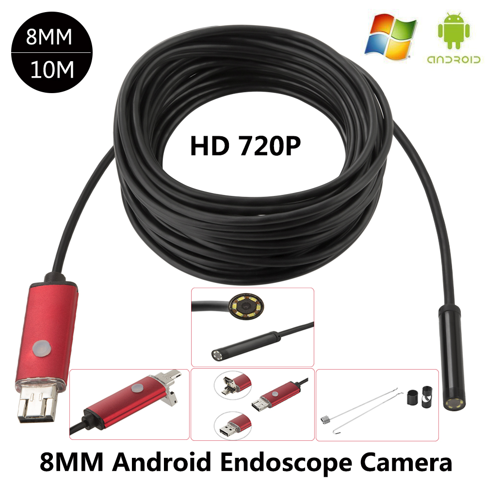 JCWHCAM HD 2 In 1 USB Endoscope Camera Waterproof 10M Long Cable 8mm Flexible Endoscope Android USB Borescope Camera For PC