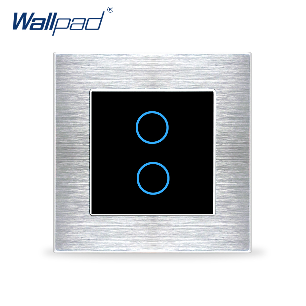Wallpad 2 Gang 1 Way Switch Wall Touch Switch Luxury Black Crystal Glass Button Aluminium Alloy Satin Metal Panel AC 110 230V