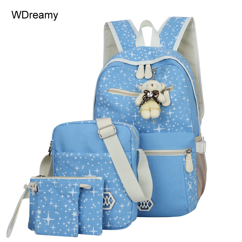 Fashion Composite Bag Preppy Style Backpacks For Teenage Girls High Quality Canvas School Bags 4 Set Backpack Female canvas backpack women dot school bag for teenagers girls preppy style composite bags set travel high quality female backpacks