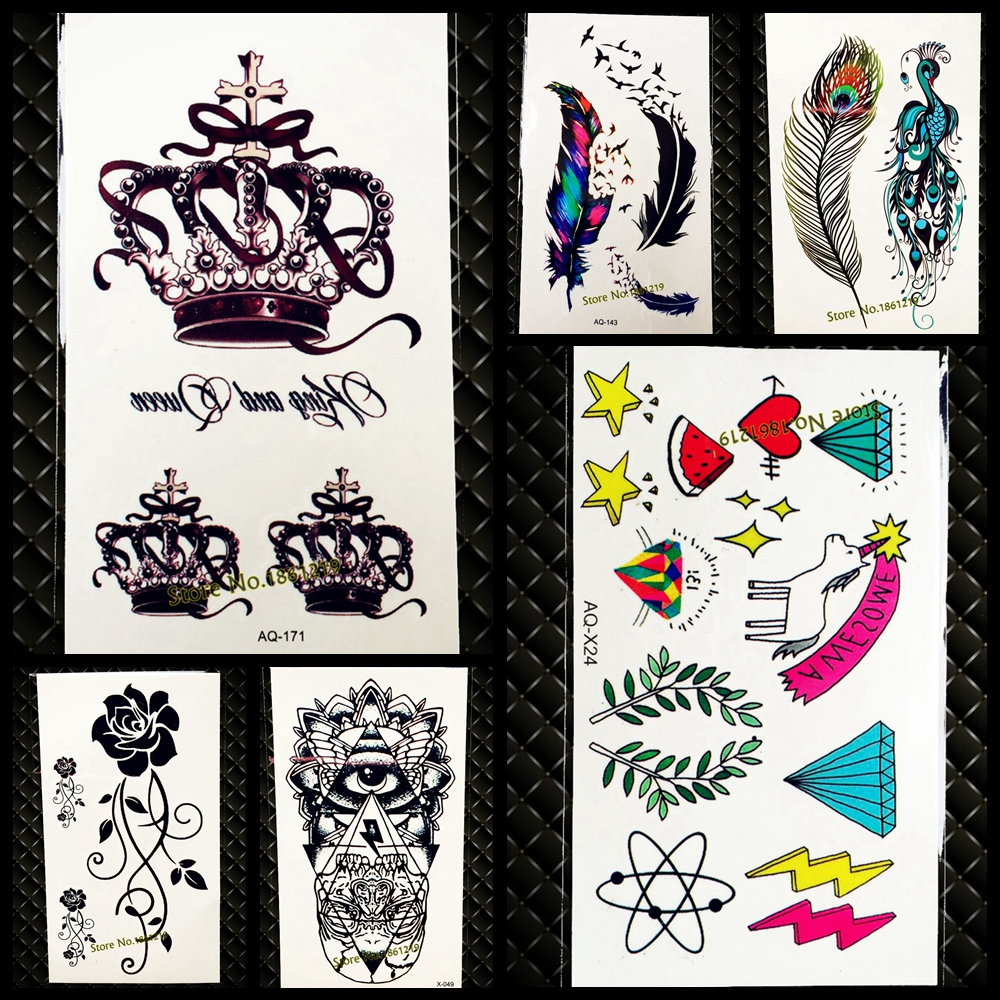1PC Sexy Women Body Neck Art Water Transfer Fake Tattoo Queen Crown Letter Jewelry Design Temporary Tattoo Decals Sticker GAQ171