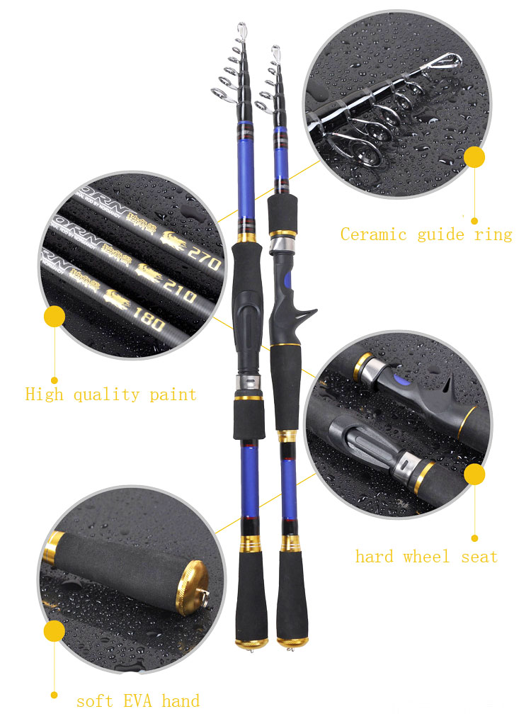 Image 2 - 2019 new ultralight carbon spinning fishing rod hard short bait casting rod rock boat stick pesca pole telescopic rod-in Fishing Rods from Sports & Entertainment