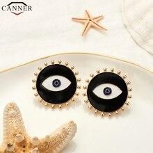 CANNER Black Evil Eye Earrings for Women Fashion Jewelry Punk Gold Round Stud 2019 Earings kolczyki oorbellen H50
