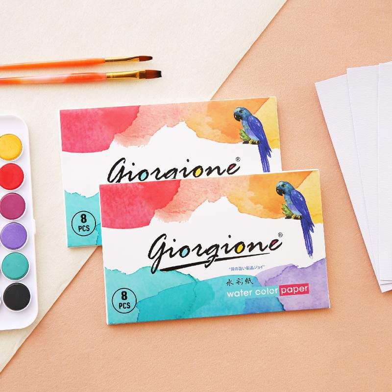 8 Sheets/bag Watercolor Paper Set  Pure Wood Pulp Paper Portable Painting Color Lead Sketch Art Accessories Aquarel Papier