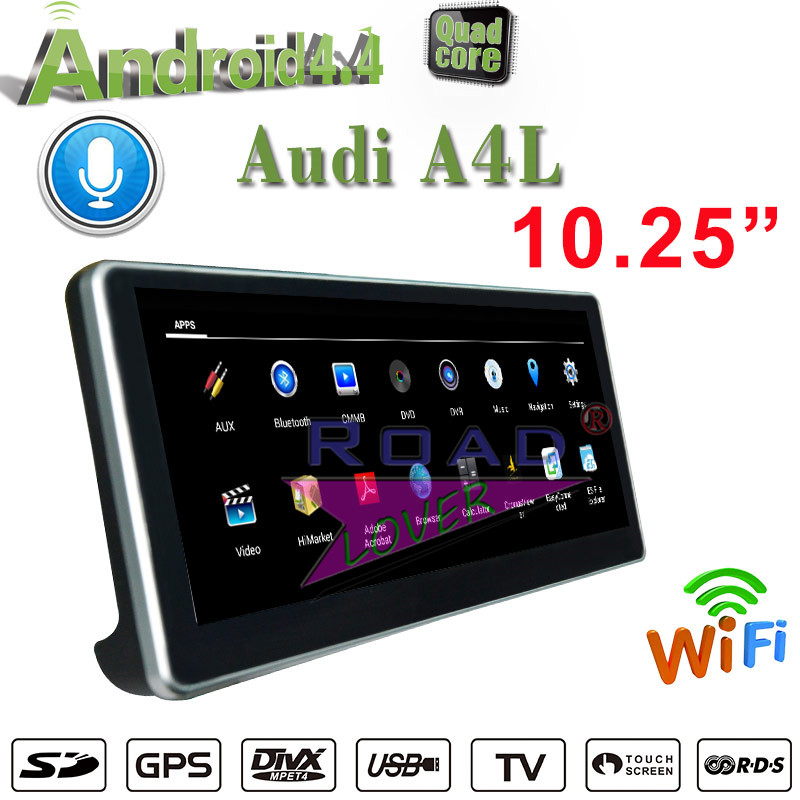 Roadlover 10.25 Android 4.4 Car Media Center Player For Audi A4L 2017 Stereo GPS Navigation Quad Core 1G+16GB 2Din Radio NO DVD