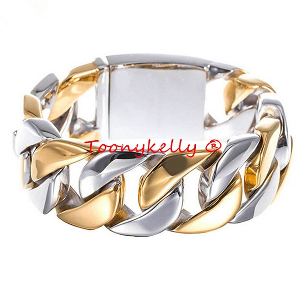 MB310 Or Argent Hommes Bracelet 21.5 CM Largeur 2.3 CM 316L Acier Inoxydable Jewlery Cadeau Bijoux Bracelet, Fahion, moderne, en gros