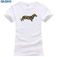 Cotton T Shirts Clothing Office Women O Neck Short Sleeve Dachshund Dog Flowers Stars 279 Tee
