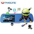 """5.0 """"IPS tela de Toque Android 4.4 ROM 16 GB FHD1080P traço câmera de estacionamento dvrs carro gravador de vídeo espelho Retrovisor Do Carro DVR Câmera Dupla GPS"""