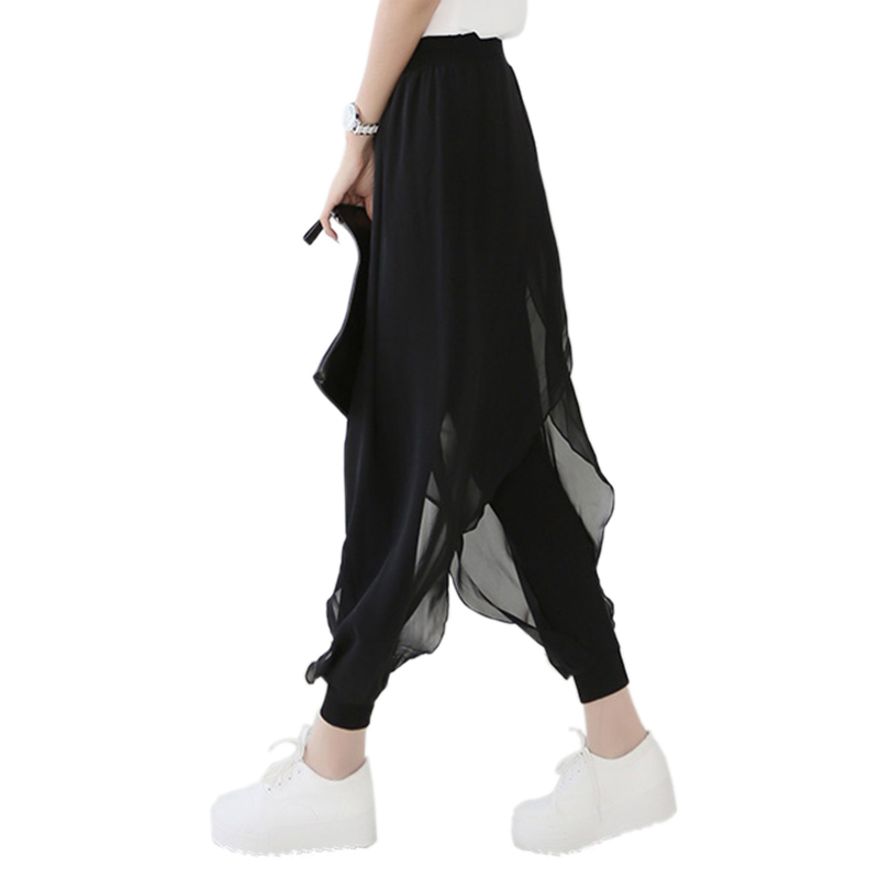 summer 2017 fashion ladies casual loose chiffon harem pants women pants black pantalon femme. Black Bedroom Furniture Sets. Home Design Ideas
