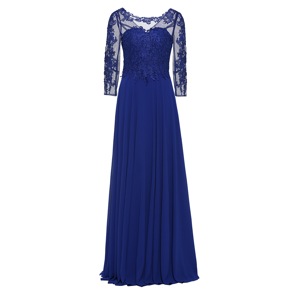 Dressv Long Sleeves Evening Dress Royal Blue Appliques Scoop Neck Floor Length A Line Gown Women Wedding Long Evening Dresses