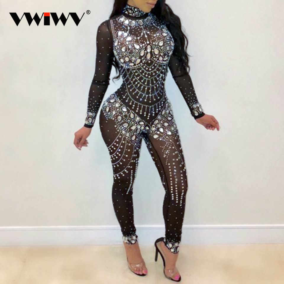 0126585c3a7 VWIWV Women Mock Neck Jumpsuit Sequin Rhinestone Diamonds Jumpsuits Long  Sleeve Skinny Bodysuits Clubwear Party One