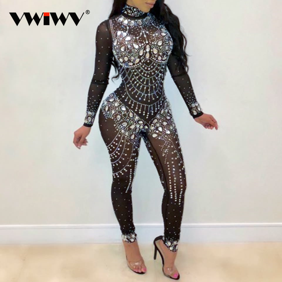 VWIWV Women Mock Neck Jumpsuit Sequin Rhinestone Diamonds Jumpsuits Long Sleeve Skinny Bodysuits Clubwear Party One Piece Romper