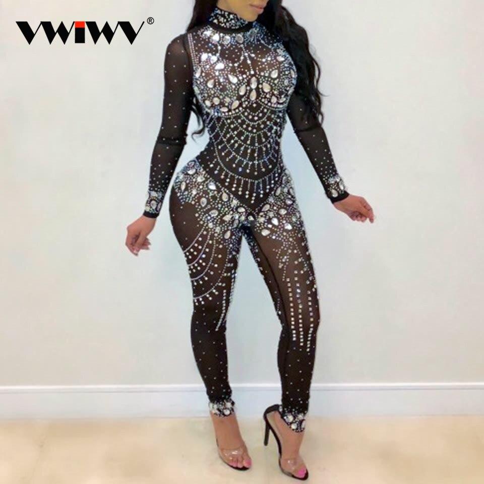 VWIWV Women Mock Neck Jumpsuit Sequin Rhinestone Diamonds Jumpsuits Long Sleeve Skinny Bodysuits Clubwear Party One Piece Romper