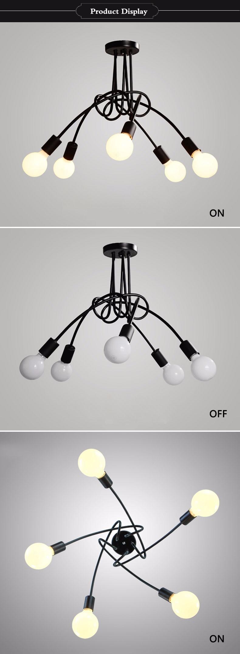 Vintage Plafond Lumi¨res Luminaria Lumi¨re Lustre Fer Tuyau Lampe