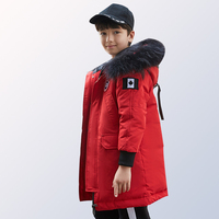 Kids boy Winter Jacket with Fur Collar Children Boys Parka Clothes 2018 Long Warm Hooded Cotton Coats Big Size 8 10 12 14 Year