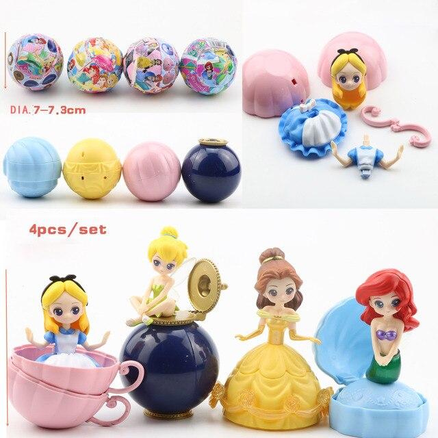 Akcja Disney księżniczka rysunek zabawki 4 sztuk/zestaw tajemniczy Gashapon księżniczka Alice ARIEL DAZZLES BELLE skręcone jajka zabawki...
