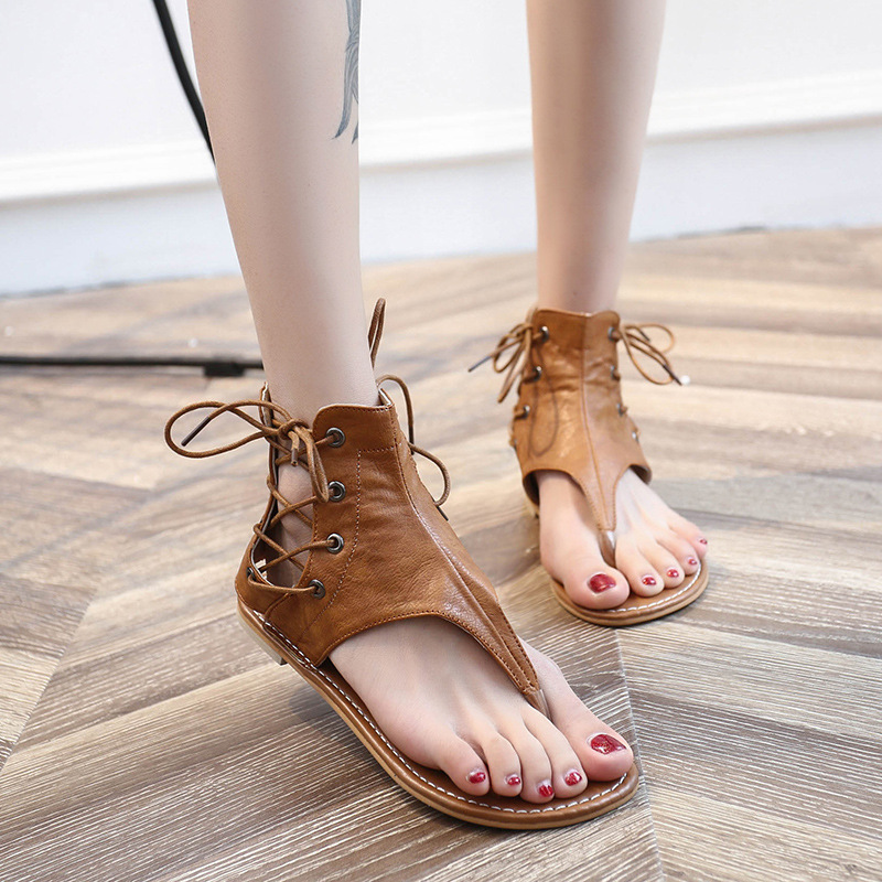 2018 Women Summer Rome Gladiator Retro Lace Up PU Leather Flat Sandals pu leather panel lace up flare coat