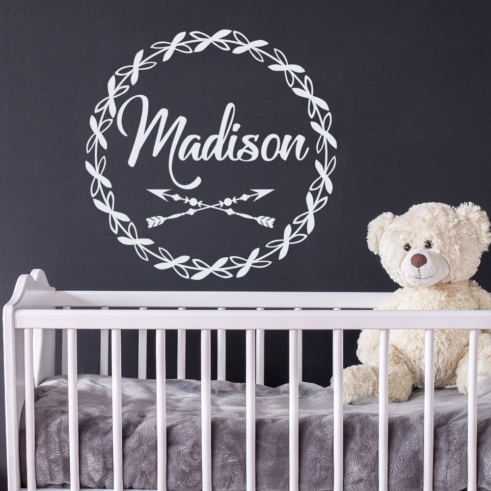 Customized Kids Name Wall Decals Removable Arrow Decal Rustic Nursery Decoration Personalized Babys Sticker AY0278