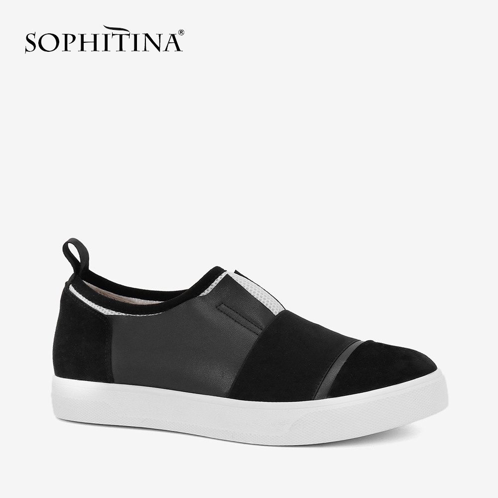 SOPHITINA Woman Black Loafers Luxury Genuine Leather Casual Flats Slip-on Round Toe Shoes Hot Sale Fashion Leisure Sneakers P86SOPHITINA Woman Black Loafers Luxury Genuine Leather Casual Flats Slip-on Round Toe Shoes Hot Sale Fashion Leisure Sneakers P86
