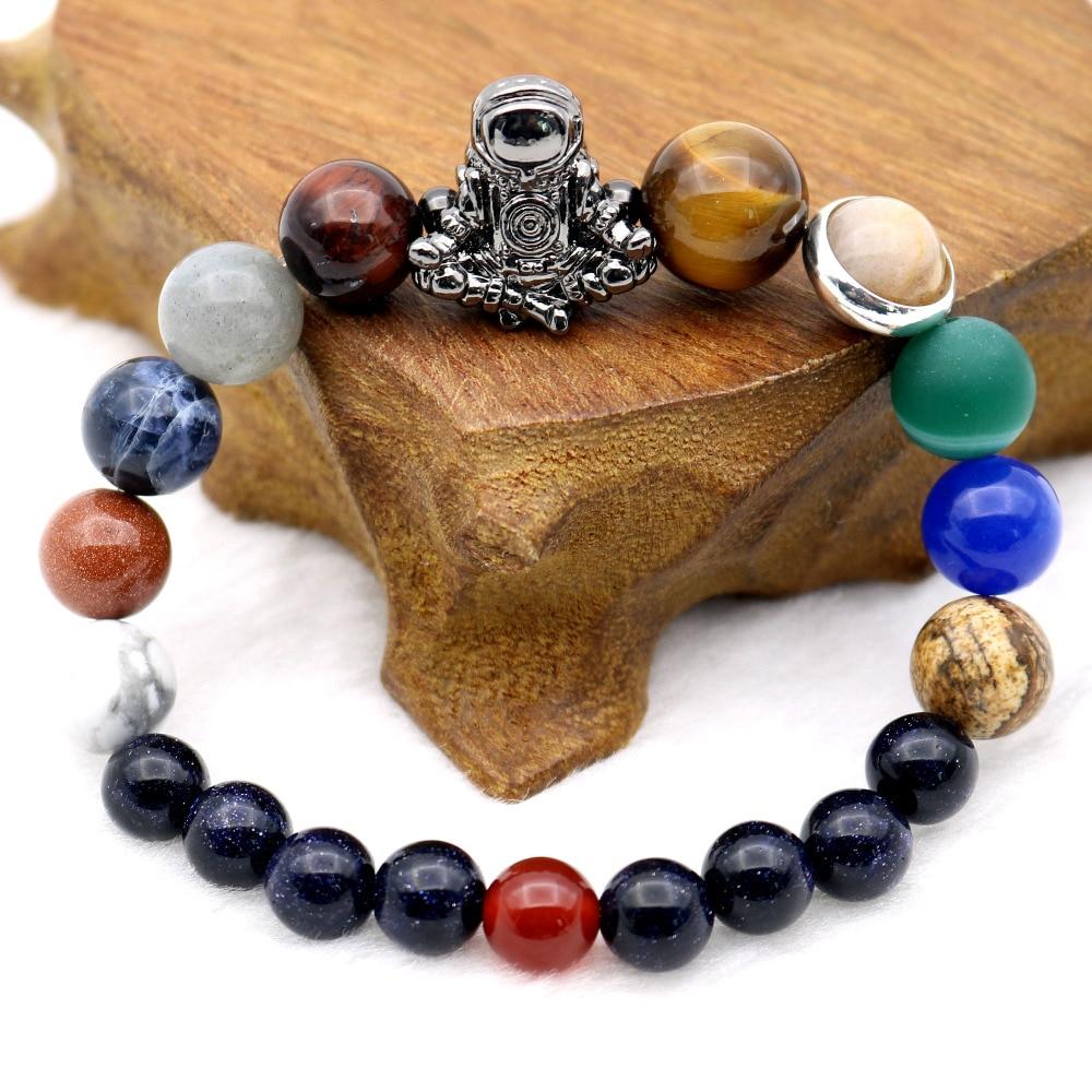 Astronauta encanto Sistema Solar 9 planetas universo galaxia Spaceman piedras cuentas hombres mujeres pulseras elásticas brazaletes