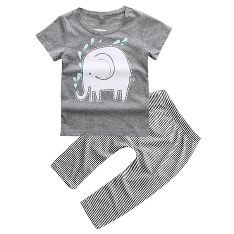 ABWE Best Sale Elephant Toddler Baby Boys Clothes Tops T-Shirt Pants 2PCS Outfits Set , Gray
