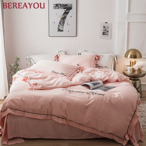 Nordic Comforter Bedding Sets Washed Cotton Kids room Bed sheet Home Textiles Simple Bed Linings 4pcs Pillowcases Cover Set