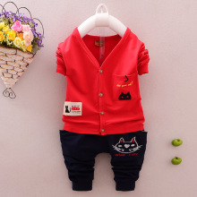 Cotton Baby Boy Clothing Set Long sleeve clothes Pants Kid Cat Pattern Children