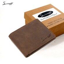 SMIRNOFF Genuine Leather Men Wallet Handmade Crazy Horse Lea