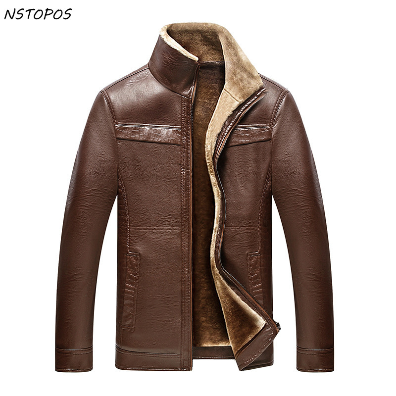 Mens Winter Leather Jackets with Fur Lining Thick Winter PU Leather Jacket Men Veste Cuir Homme Mandarin Collar Outwear