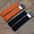 21 mm nova alta qualidade da borracha de silicone laranja Black Watch Strap banda para esporte corrida de relógios moda pulseira estilo T013420