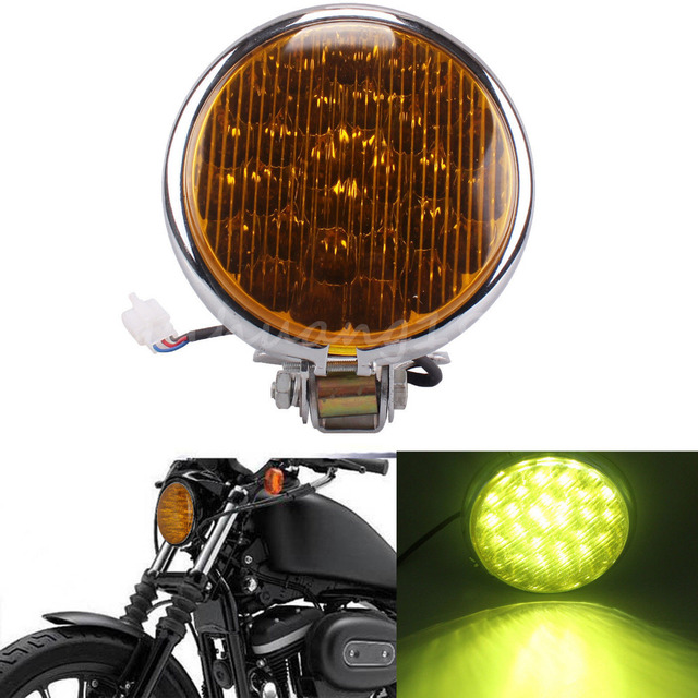 "Preto Universal Chrome Motorcycle 5 "" 30 LED farol lâmpada para Harley Davison Cafe Racer Bobber 12 v"