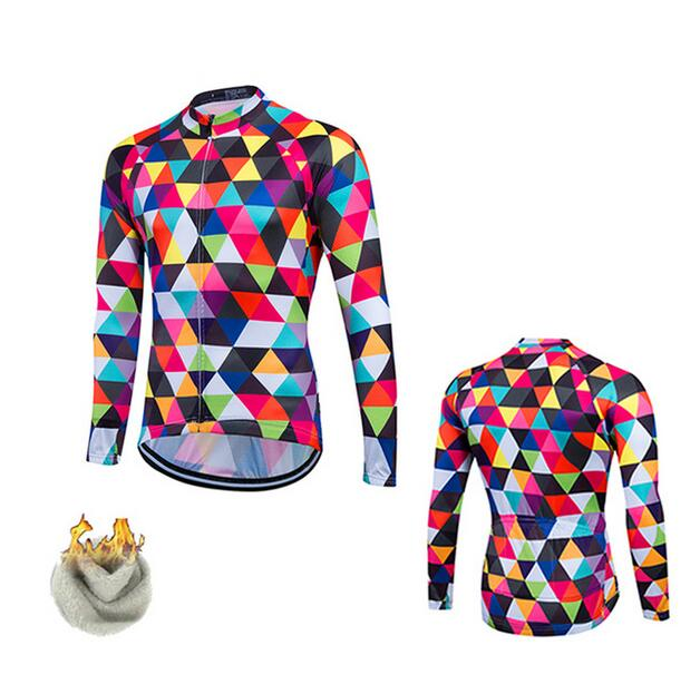 FASTCUTE Florr Winter Fleeced Ropa Ciclismo Bike Cycle Maillot Bicycle Wear MTB Cycling Clothing Racing Thermal Cycling Jersey