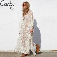 Ganby Saida De Praia Swimsuit Tunics For Beach Ladies Beachwear Dresses Europe Star Lace Yarn V Collar Sexy Dress
