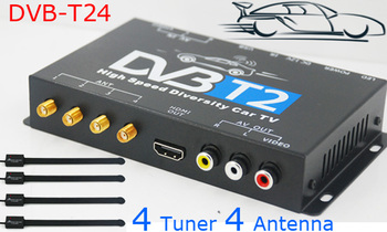 HDTV Car DVB-T2 DVB-T MULTI PLP Digital TV Receiver automobile DTV box With 4 Tuner Antenna 2