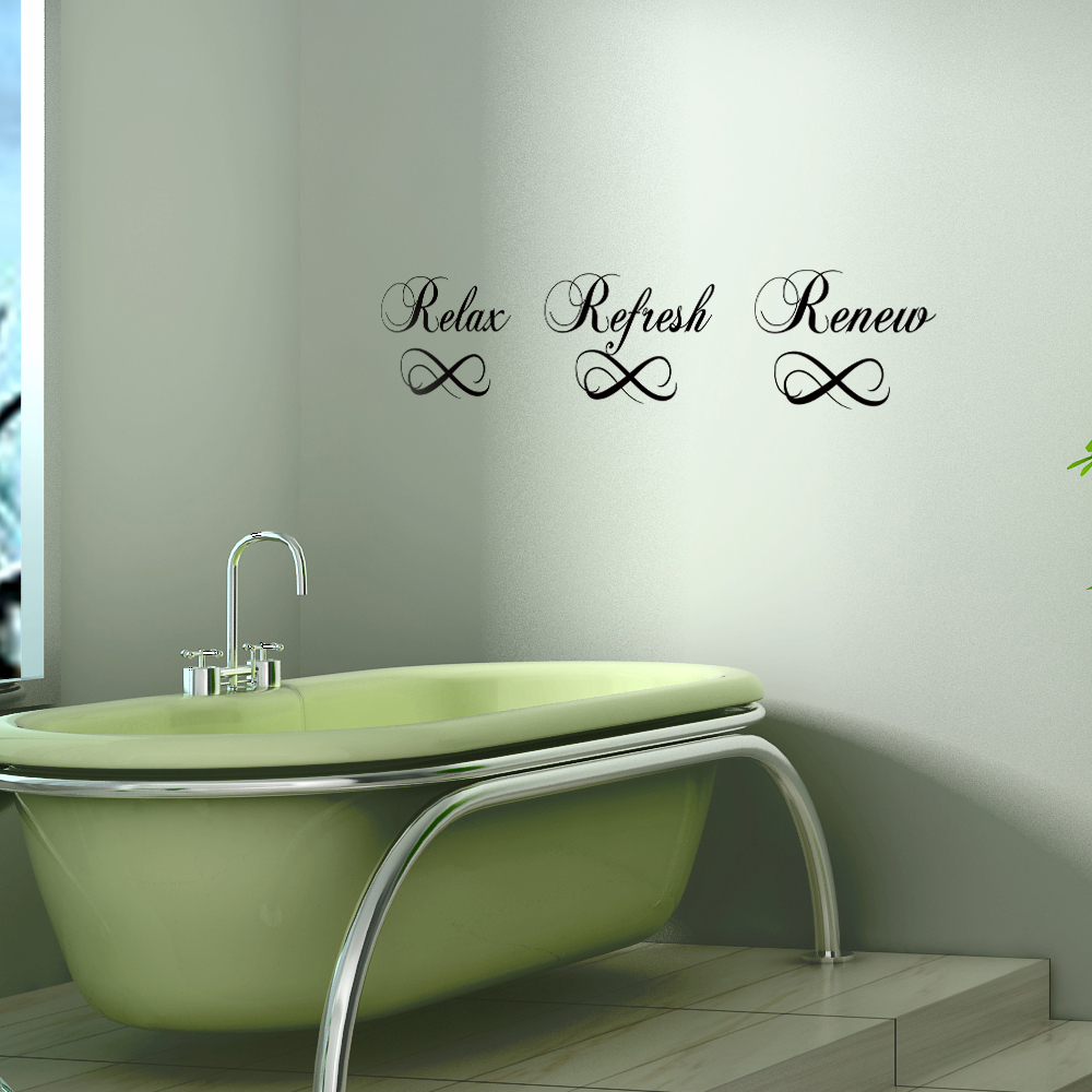 Relax refresh renew bathroom vinyl lettering wall art home for 4 home decor