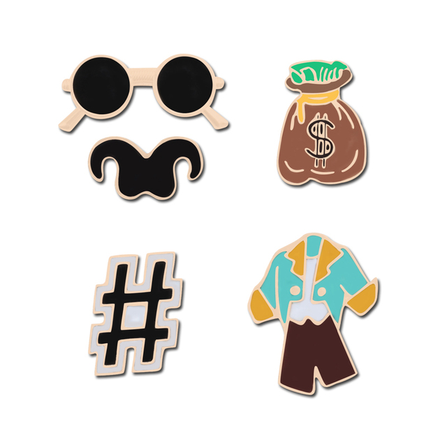 US $0 49 43% OFF|Personality Enamel Lapel Pins Prince Suit Glasses Bear  Pound Key Wallet Purse Brooch For Men Backpack Denim Coat Badge Male  Gift-in