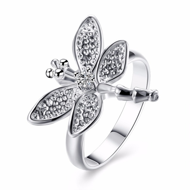 Dragenfly animals charming big rings nice finger wear 925 Silver Fashion r017 Nice Summer styles Brand 2017 New