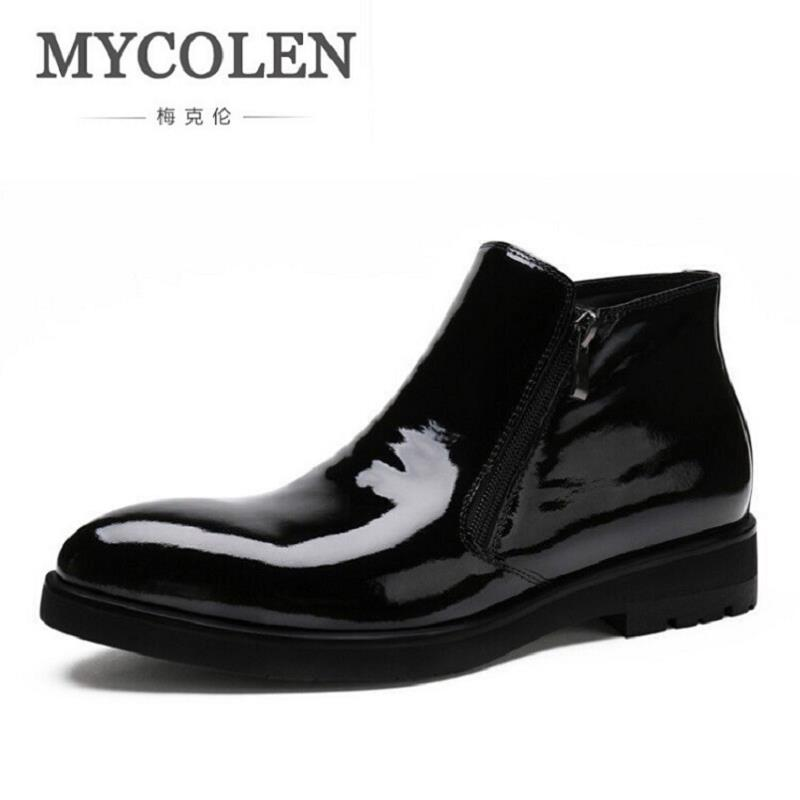 MYCOLEN Men Boots Genuine Leather Handmade Rubber Boots Side Zipper Slip On Winter Men Shoes Comfortable High Top Black Boots