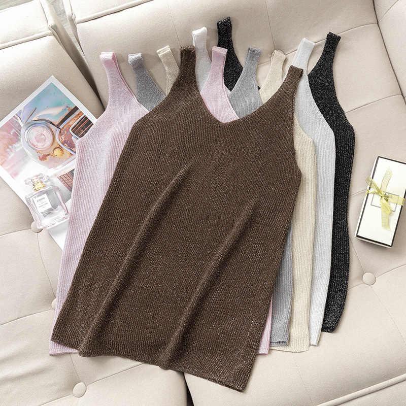 Camisola de punto con purpurina de verano para mujer, chaleco sin mangas brillante informal, camisetas sexis con escote en v, camisola de talla grande, tops cortos sueltos para mujer