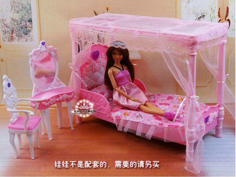 Sweet Pink Princess Bed Dresser Set / Dollhouse Furniture Bedroom  Accessories For Barbie Kurhn Doll Baby