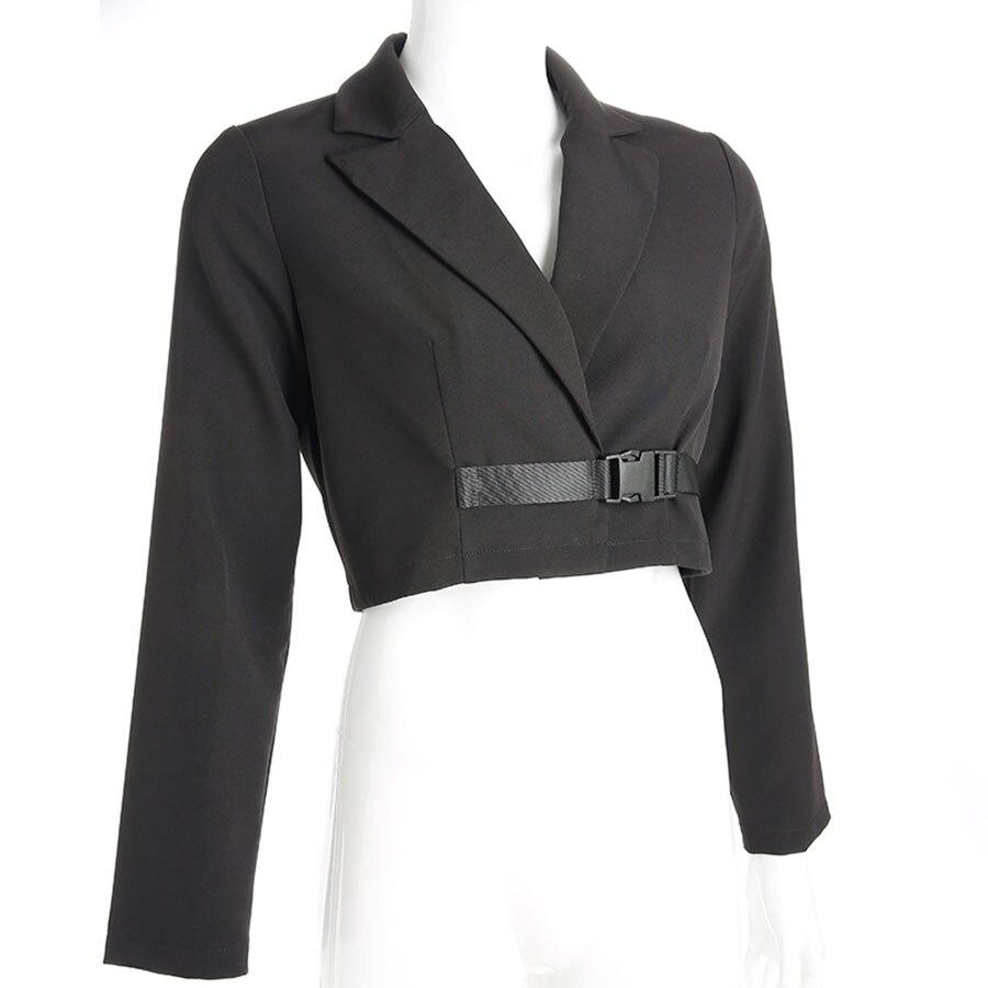 Slim Coat Lapel Short Suit Women Belted Coat Long Sleeve Crop Top Women Casacos Femininos Coat Women Streetwear  60j126