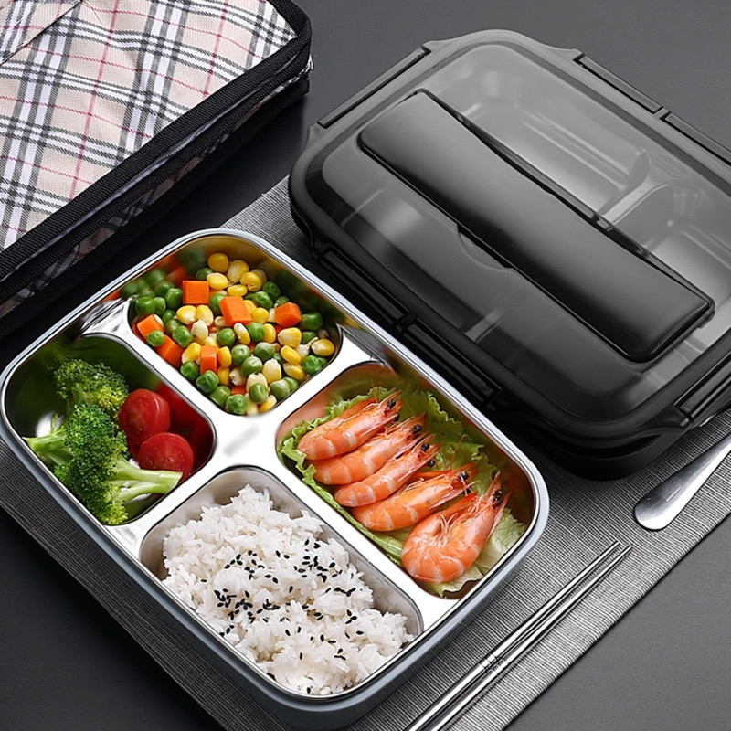 portable Stainless Steel Lunch Box Containers with 4 Compartments Bento Leakproof Food Container with Lunch Box Bag in Lunch Boxes from Home Garden