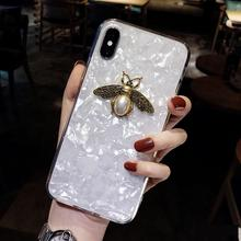 Fashion 3d Bee Bling Glitter Shell Girl Phone Cover Case For Iphone X Xs Max Xr 10 8 7 6 6s Plus Luxury Hard Coque Fundas