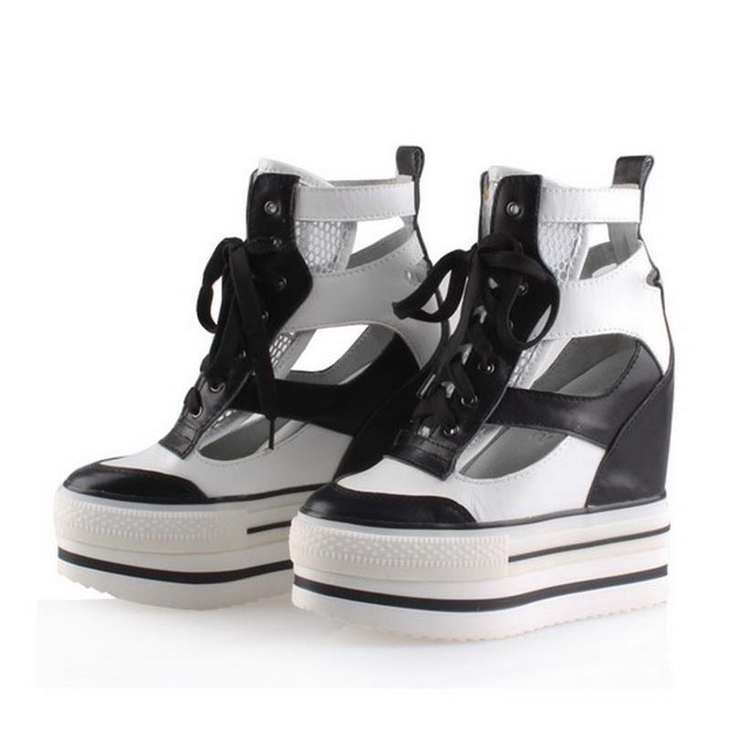 Summer Genuine Leather Wedges Platform High heels Women Shoes Woman Height Increasing Casual Ladies Zapatos Mujer Tenis Feminino woman fashion high heels sandals women genuine leather buckle summer shoes brand new wedges casual platform sandal gold silver